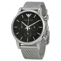 BRAND NEW EMPORIO ARMANI BLACK DIAL STAINLESS STEEL CHRONOGRAPH MEN WATCH AR1811