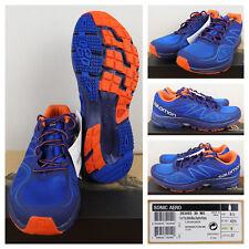 Salomon Mens Running Shoes Trail Cross Country Breathable Mesh Blue Orange 9