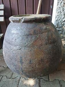 Ensemble de 2 grands pots H 60 cm très anciens en terre cuite patinée