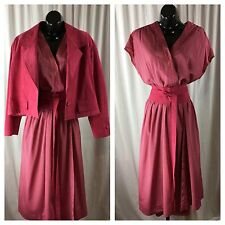 Vintage Dress 1970's - 1980's Size 14 Pink Polka Dot Dress With Suede Jacket