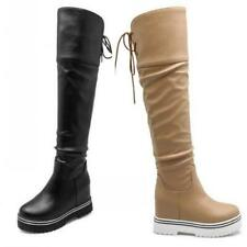 Womens Over The Knee High Platform Wedge Ladies Long Thigh Leg Boots 3 Colors D