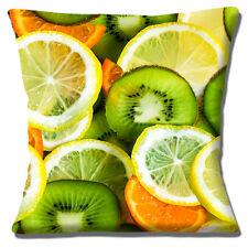 "NOVELTY LEMON ORANGE KIWI SLICES PHOTO PRINT DESIGN  16"" Pillow Cushion Cover"