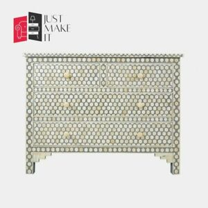 Bone Inlay Grey Chest of Drawer Honeycomb (MADE TO ORDER)