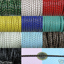 2 Metros de Cuero Genuino Trenzado 3mm Color a Elegir Genuine Leather Braided
