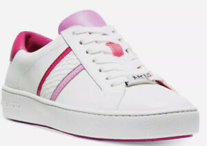 New in box Michael Kors Irving stripe lace up sneakers white pink size 8