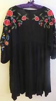 ZARA Black Solid  Red Color Embroidered  Long Sleeve Dress Size M