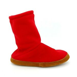 Lands End Mens Fleece Bootie Slipper Pull On Style Cushioned Red Sz L (9/10) NEW