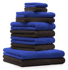 Betz Juego de 10 toallas CLASSIC 100% algodón de color azul y marrón oscuro