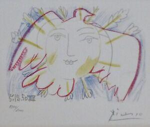 PABLO PICASSO Visage de la Paix 50 XIX HAND NUMBERED 1377/2000 signed LITHOGRAPH