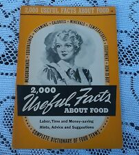 Vintage 2,000 Useful Facts About Food Booklet Dictionary Of Food Terms 1941