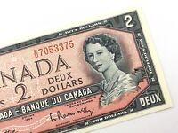 1954 Canada 2 Dollar Uncirculated EU Beattie Rasminsky Banknote Two Dollar R680