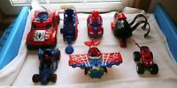 Marvel Spiderman Toy Lot Of 7 Super Hero cars action figure and web shooter
