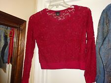Rue 21 Maroon Small Lace Long Sleeve Blouse Top Cotton Nylon Spandex
