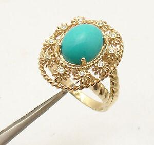 Genuine Cabochon Turquoise Gemstone & Diamond Ring REAL 14K Yellow Gold QVC
