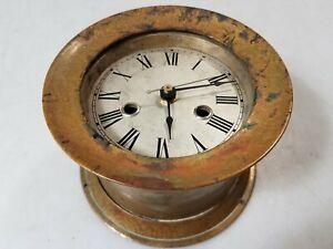 Vintage Waterbury Clock Co Brass Ship Clock