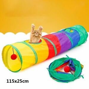 Funny Cat Tunnel Foldable 2 Holes Pet Play Kitten Toy Tunnel Multicolor Cat Cave