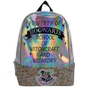 Harry Potter Rucksack Backpack Novelty Silver Glitter School Bag Girls