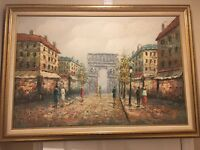 HENRY ROGERS WONDERFUL IMPRESSION OF PARIS OIL ON CANVAS PAINTING GOOD CONDITION