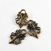 25 Stk Antike Bronze Ton Legierung Blumen Schädel Anhänger Charme Schmuck Kunst