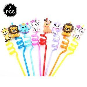 8Pc Colorful Plastic Straws Fun Animal Donuts Children Birthday Party Supplies G