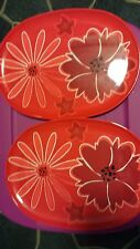 Set of 2 Plastic Pink Floral Serving Platters Outdoor Patio Dining NEW