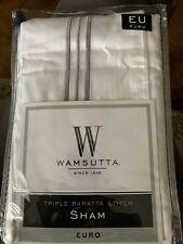 "Wamsutta® European Pillow Sham Euro 26"" x 26"" Charcoal Triple Baratta Stitch Nip"