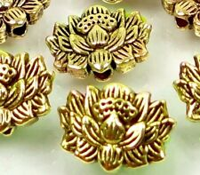 25 Antique Gold Pewter Lotus Flower Buddhist Beads 12x8mm ~ Lead-Free ~
