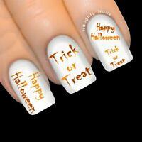 Pumpkin Orange HAPPY HALLOWEEN Nail Water Transfer Decal Sticker Art Tattoo