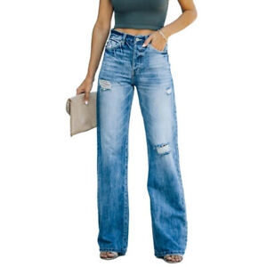 Womens Ripped Denim Pants Jeans Bottoms High Waist Destroyed Wide-Leg Trousers