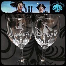 Personalised Disney Wedding Wine Glasses Mary Poppins & Bert Bride & Groom