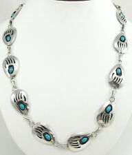 Thomas Nez Sterling Silver Turquoise Belt Necklace Bear Claw Shadowbox Navajo 37
