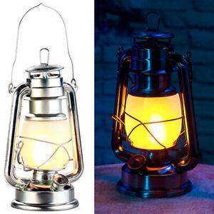 Sturmlampe: LED-Sturmlaterne mit Flammen-Effekt, 25 cm Höhe, silberfarben