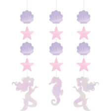 3 x Mermaid Hanging Party Decorations Iridescent Finish Mermaid Party Supplies