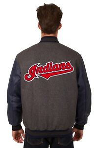 Cleveland Indians Wool & Leather Reversible Jacket with Embroidered Logos Gray