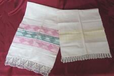 19C. ANTIQUE SET 2 HAND WOVEN COTTON KENAR NAPKINS TABLE TOWELS w/CROCHET TRIM