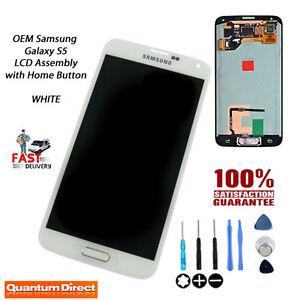 NEW Original OEM Samsung Galaxy S5 (SM-G900F) AMOLED Display w/Home Button WHITE