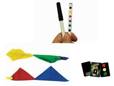 Hot Rod Magic Trick Pen-One Red, One Blue, Color Changing Hanky, Stop Light Card