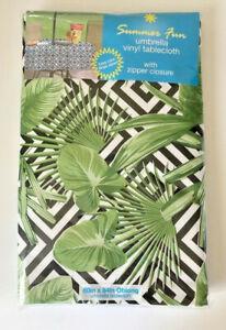 "Palm Leaf Tablecloth Zipper 52x70"" Umbrella Hole Flannel Backed Vinyl Beach"