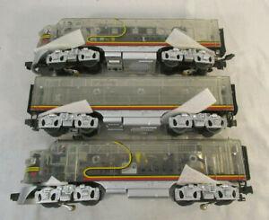 O Scale MTH Dealer Appreciation F3 ABA Diesel Set - Santa Fe - Clear Body - P1
