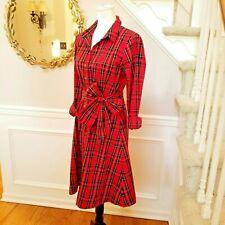 NEW! J CREW TARTAN DRESS STEWART RED PLAID BUTTON DOWN TIE-WAIST Pin-Up