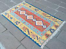 41″ x 64″ Hand-Made Vintage Turkish Kilim Rug. OUSHAK RUG. Flat Weave Area Rugs