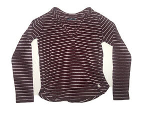 Abercrombie & Fitch Woman's Red Striped Long Sleeve Top Sz Medium Ladies