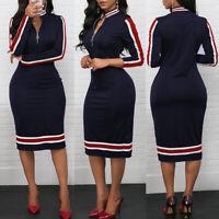 UK Womens High Neck OL Office Midi Dress Ladies Long Sleeve Zipper Bodycon Dress