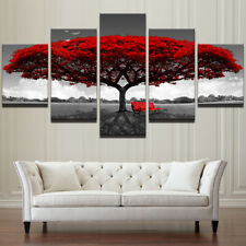 5 Pieces Red Tree Scenery Landscape Canvas Art Picture Home Decor