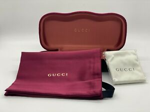 Gucci Sunglasses Eyeglasses Small Set Red Velvet Case Cloth Pouch and Card