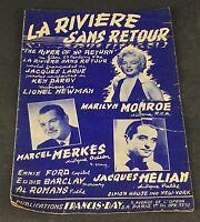 Ancienne partition La Rivière sans Retour M. Monroe M. Merkes J. Helian