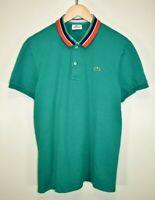 Mens Original Lacoste Polo Shirt Stripe Short Sleeve Sport Stretch Fit size 6 XL