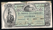 GUATEMALA EL BANCO COLOMBIANO ONE PESO 1900  ps121b