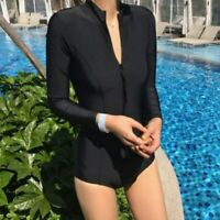Women Long Sleeve One Piece Swimwear Beach Zipper Bikini Surfing Swimsuit Black