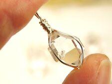 1 Genuine A+ GRADE 9x13 mm NY Herkimer Diamond Crystal Silver Pendant R1C